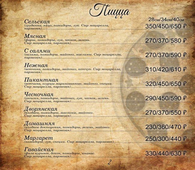 Пиццерия меню